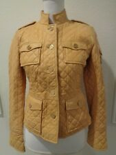 TORY BURCH Yellow Quilted Yellow Leather Jacket SZ 4