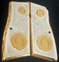IN STOCK! Hand made  GOLD 24K GOLD COATED BROWNING GUN GRIPS ENGRAVED CACHAS
