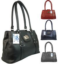 New Womens PU Leather Handbag Medium Multi Pocket Flap Shoulder Work Handbag UK
