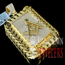 Genuine Diamond Free Mason Masonic Miami Cuban Pendant In 10K Yellow Gold Finish