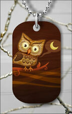 OWL NIGHT HOOT PAINT DRAW DOG TAG NECKLACE PENDANT FREE CHAIN -ihk7Z