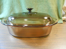 Amber Corning Vision Ware Pyrex Glass 4 L 4 Qt Covered Ribbed Oval Dutch Roaster