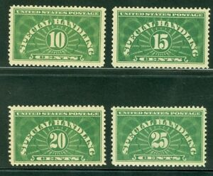 US STAMPS, SCOTT #'s  QE1-4, LOT OF 4 SPECIAL HANDLING STAMPS.  ALL MNH, FOG