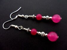 A PAIR OF PINK JADE SILVER PLATED DROP DANGLY  EARRINGS. NEW.