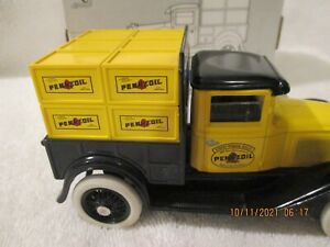 ERTL Pennzoil Model A Pickup with crates Coin Bank with box