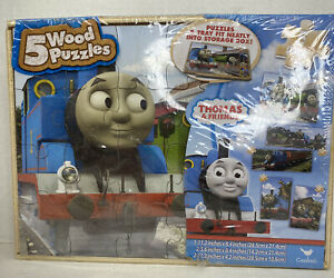 New Thomas The Train & Friends 5 Wood Puzzles w/ Box 2014 *SEALED*