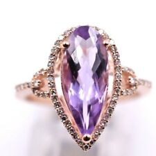 Ladies Solid 14k Rose Gold Genuine Amethyst Ring With Diamonds .2.40ctw