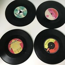 Set of 4 Vinyl Album Coasters Record Retro Place mats Novelty Gift Music Disc