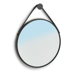 Badezimmerspiegel, Runder Spiegel mit Spiegel, Wandspiegel, Metallrahmen Schwarz