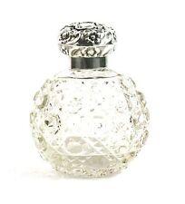 Antique Victorian sterling Silver cloutés verre parfum parfum flacon 1896
