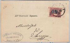 ITALIA REGNO: storia postale - Sassone 34 sovrastampa spostata su BUSTA 1880