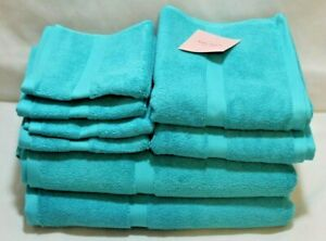 Kate Spade Eight Piece Bathroom Towel Set Solid Turquoise 100% Cotton New