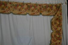 "drapery valance chintz 15""x 184"" cotton flowers birds 19thc antique original"