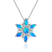 Handmade Flower Blue Fire Opal White Crystal Gems Solid Silver Necklace Pendants