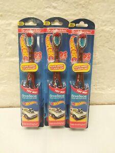 Hot Wheels Toothbrush Soft Brush Buddies Lot Of 3 Brite Beatz Music & Light Show