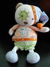 A5/ DOUDOU MUSICAL BABYSUN baby sun OURS  blanc orange bleu vert etoile LIRE SVP