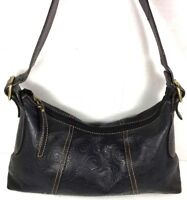 Fossil Black Soft Patterned Leather Shoulder Bag