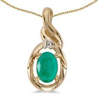 14k Yellow Gold Oval Emerald and Diamond Pendant (no chain) (CM-P1241X-05)