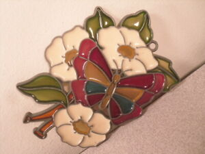 White Old Rose Flowers & Rainbow Butterfly Suncatcher Metal & Resin