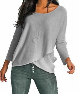 Damen Shirt Pullover Wickeloptik Strickpulli grau 36/38 40/42 44/46 48/50