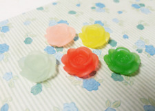 10 Resin Flower Cabochons Flat Back Rose 18mm Assorted Lot Frosted