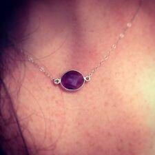 Amethyst Gemstone Necklace/Choker Sterling Silver Chain/February Birthstone Gift