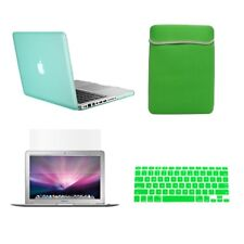 """4 in1  Rubberized GREEN Case for Macbook PRO 15"""" + Key Cover + LCD Screen+ Bag"""