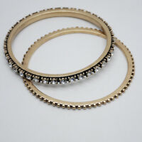 banana republic signed jewelry vintage gold tone cut crystal bangle bracelet