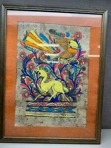 AMATE BARK PAINTING native ethnic mexican hanging folk art hand painted Framed