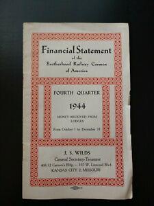 1944 Financial Statement of the Brotherhood Railway Carmen of America Booklet