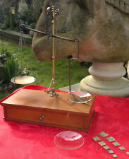 Antique Apothecary Chemist Doctor Brass Balance Scales & Weights Travelling Box