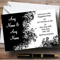 Black White Swirls Engagement Party Personalised Invitations