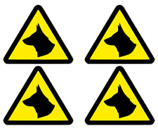 4 x SMALL MAGNETIC DOG WARNING TRIANGLES                            (s433)