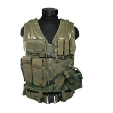 US Army Airsoft USMC Tactical Combat Assault Vest Military Holster Pouches Green