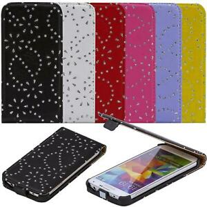 Handy Tasche Strass Hülle für Sony HTC LG Flip Cover Glitzer Case Klapp Etui