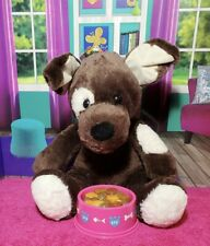 Build A Bear Puppy Dog Plush Dark Brown White Eye Patch 12� Babw Stuffed Toy