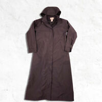 LL BEAN Womens Small Trench Coat Detachable Hood Wool Zip Off Lining Dark Purple
