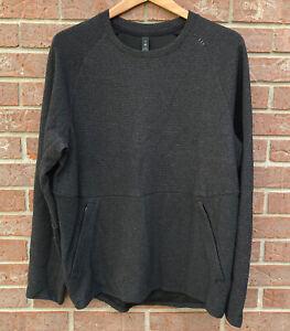 Lululemon At Ease Quilted Crewneck Sweatshirt Textured Top Dark Gray Men Medium