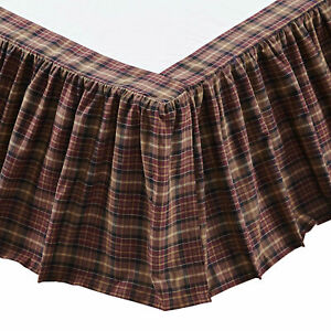 Abilene Star Red, Tan Plaid Country King Queen Twin Bed Skirt