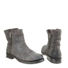 Women's Frye Natalie Double Zip Charcoal Leather Zip Up Ankle Boots Size 8 M