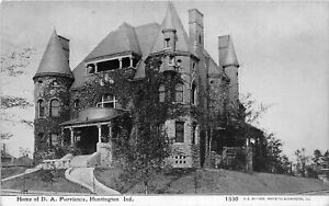 H60/ Huntington Indiana Postcard 1910 Home of D.A. Purviance