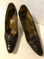 Women's Vintage 50s 60s Alligator Shoes Pumps Heels Vive! Dk Brown Size 8 Narrow