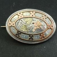 Antique Silver Yellow and Rose Gold Sweetheart Brooch Birmingham 1884