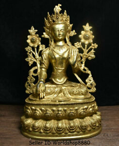 "15.2"" Old Tibet Buddhism Copper Gilt 7 eyes White Tara Goddess Lotus Sculpture"