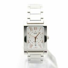 Casio BEM-100D-7A3 Genuine Rectangle White Dial Stainless Steel Analog Watch