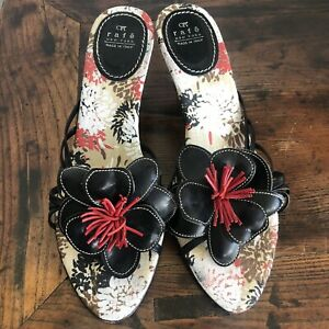 RAFE NY Heeled Sandals Sz EU 39 / US 8.5 floral Pom Pom slip on made in Italy