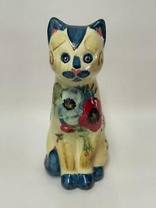 Art Pottery Cat - Large Sitting Cat Decorated with Poppies / Flowers - Signed MH