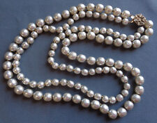 Vintage Double Strand Baroque Glass Pearl Necklace Signed MIRIAM HASKELL!