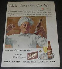 Print Ad Art BREWERY 1944 Schlitz Beer Milwaukee French Chef Kitchen Hops.