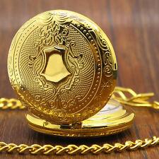 Luxury Fashion Gold Pendant Quartz Pocket Watch Vintage Shield Men Women Gift
